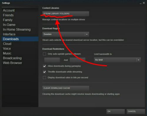 Lägg till installationsplats i Steam