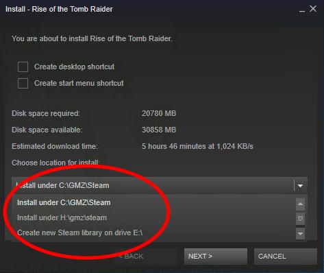 Hur du väljer var ett spel skall installeras i Steam.