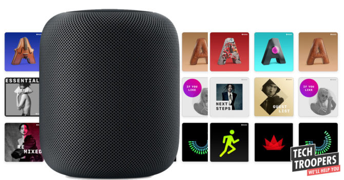 Homepod with music covers background
