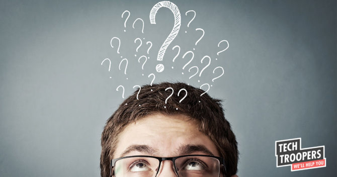 Man thinking question mark above head