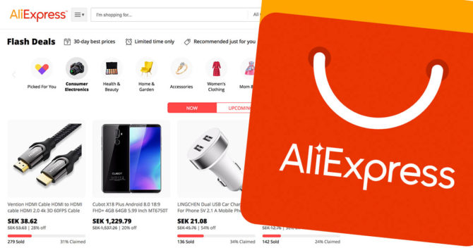 Aliexpress logo and screendump