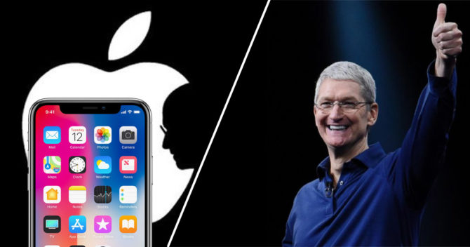 Apple logo, Iphone x and Tim cook