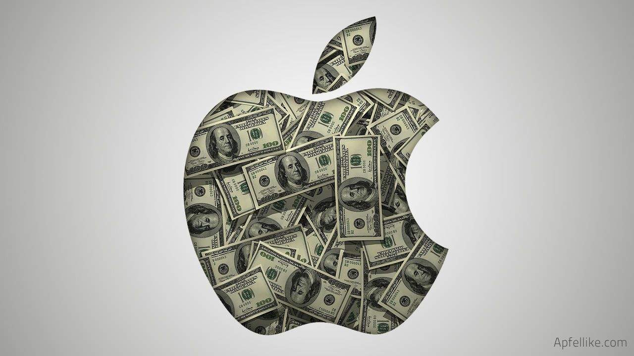 Apple log with dollar bills