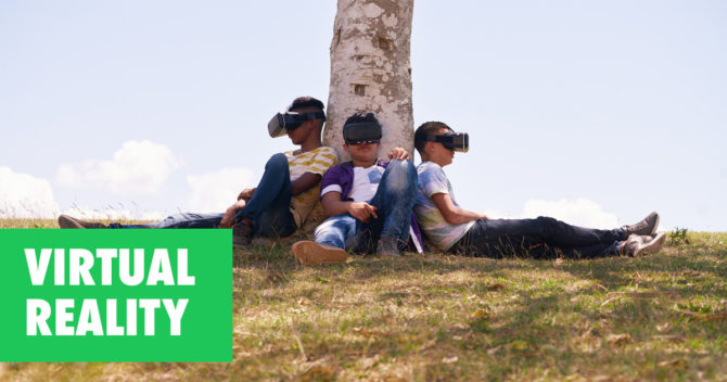 Virtual reality kids sitting nature