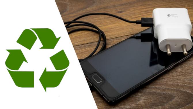 Återvinningssymbol, samart-phone, laddare
