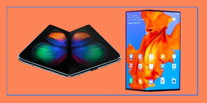 Röd bakgrund med en blå rand som visar smart-phone Huawei Mate x och Samsung Galaxy Fold