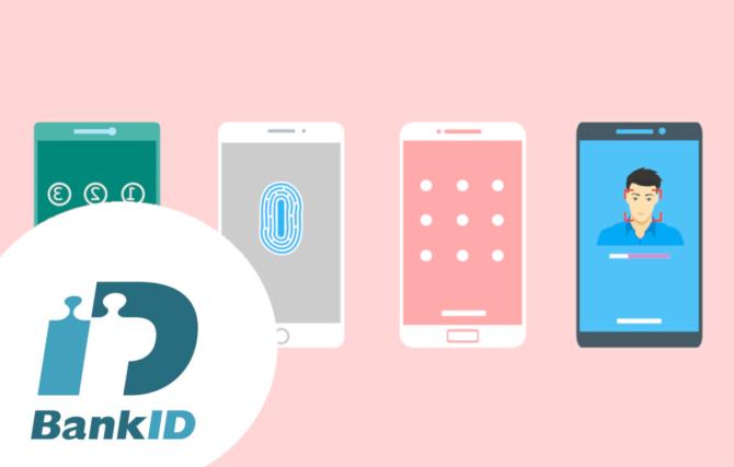 BIld på BankID och olika sätt du kan ange ditt lösenord på din telefon