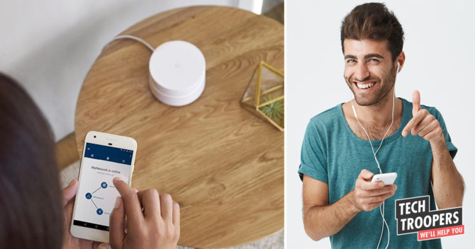 MESH router man with smartphone