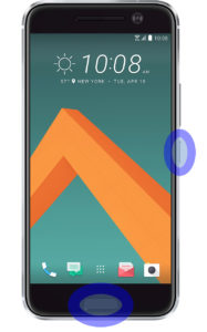 Hold down the power button and then tap the capacitive home button. The screen should flash and make a shutter sound.